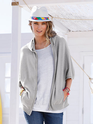 FLUFFY EARS - Cardigan in a hoodie style made from 100% cashmere