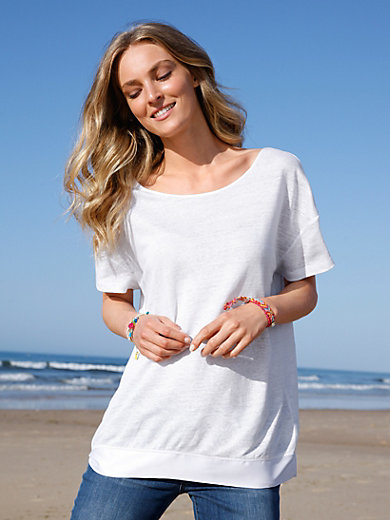 FLUFFY EARS - Top with 1/2-length sleeves made from 100% linen