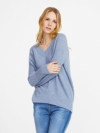 FLUFFY EARS - V-neck jumper in 100% cashmere