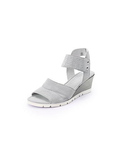 gabor sandale mit feinem nietenbesatz und keilabsatz hellgrau. Black Bedroom Furniture Sets. Home Design Ideas