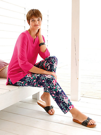 Green Cotton - 7/8-length trousers with rose print