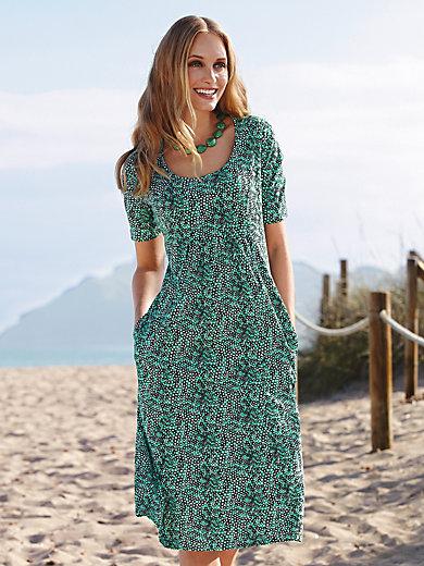 55e7730571da Green Cotton - Kortärmad klänning - Krämfärgad/smaragdgrön/svart
