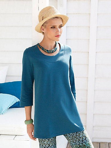 Green Cotton - Long top with 3/4-length sleeves