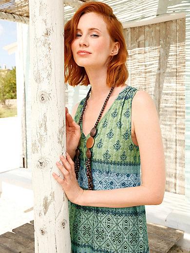 3594119496ab46 Green Cotton - Mouwloze jerseyjurk met V-hals - turquoise/multicolour