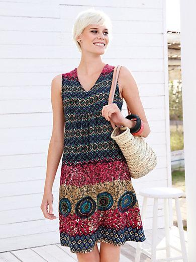 Green Cotton - Summer sun dress - light blue/camel/raspberry