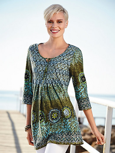 Green Cotton - Top in a tunic style