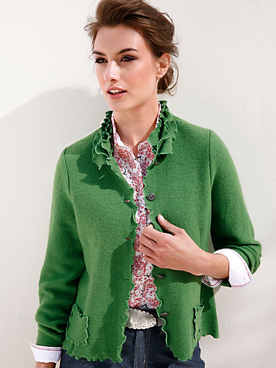 Hammerschmid - La veste en pure laine foulée, encolure à volants