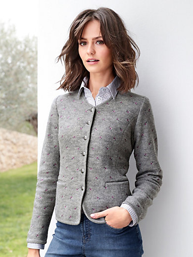Hammerschmid - Milled wool cardigan with embroidered flowers