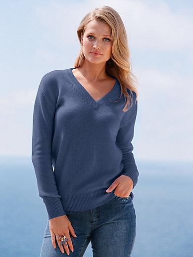 8474c7f2650b include - Le pull décolleté V 100% cachemire - bleu jean chiné
