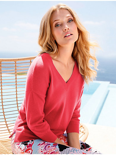 include - V-neck jumper in 100% cashmere