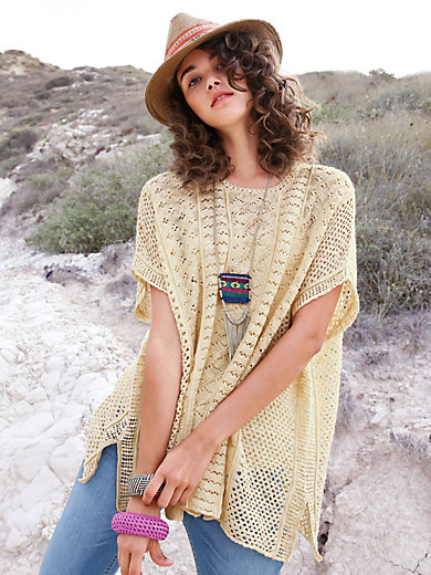 Inkadoro - Le pull poncho en pur coton, finitions crochetées