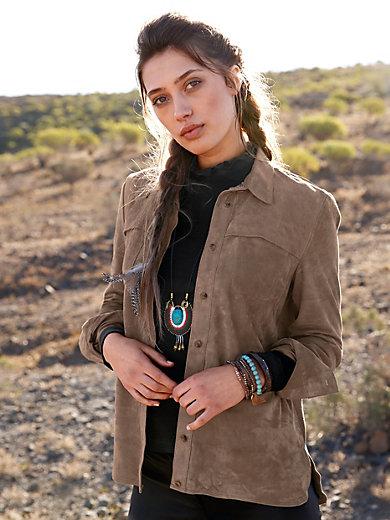 Inkadoro - Lederhemd aus 100% Ziegenvelour
