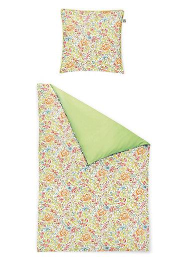irisette wende bettw sche garnitur aus satin ca 155x200cm gr n multicolor. Black Bedroom Furniture Sets. Home Design Ideas