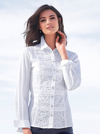 Just White - Blouse with an embroidered insert at the front