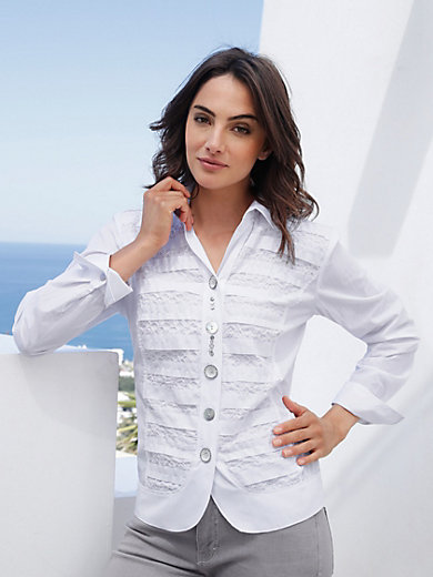 Just White - Bluse mit Hemdkragen