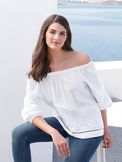 Just White - Top with 3/4-length sleeves