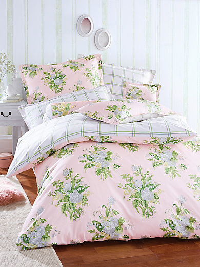 laura ashley bettw sche garnitur aus satin ca 135x200cm ros gr n. Black Bedroom Furniture Sets. Home Design Ideas