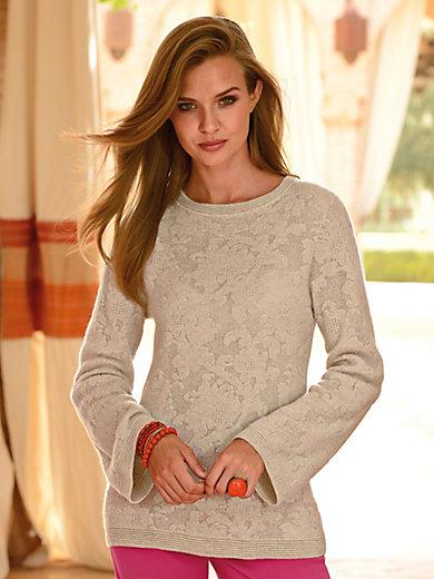 Laura Biagiotti Donna - Rundhals-Pullover mit floralem Strickmuster