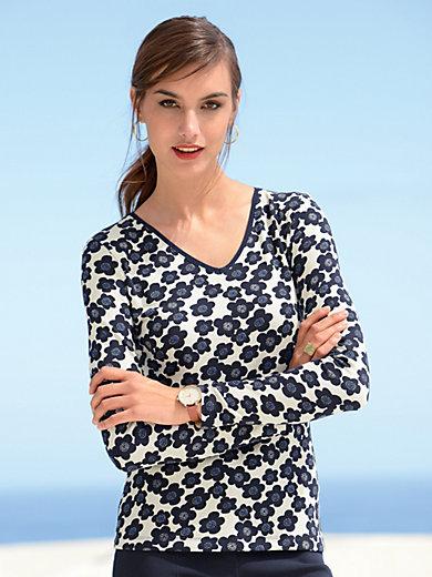 Laurèl - V-Shirt mit 1/1 Arm und in Rippen-Jersey