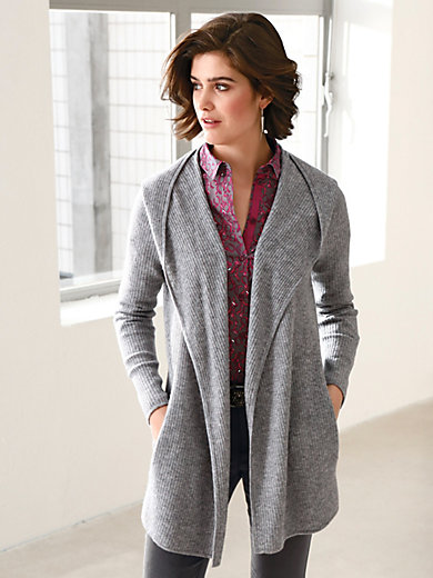 Looxent - Hooded cardigan in new milled wool and cashmere