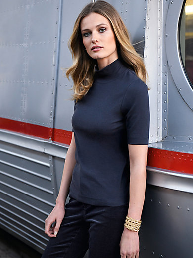 Looxent - Top with short sleeves and stand up collar