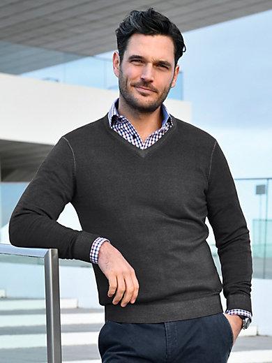 MAERZ Muenchen - V-Pullover aus 100% Schurwolle-Merino fein