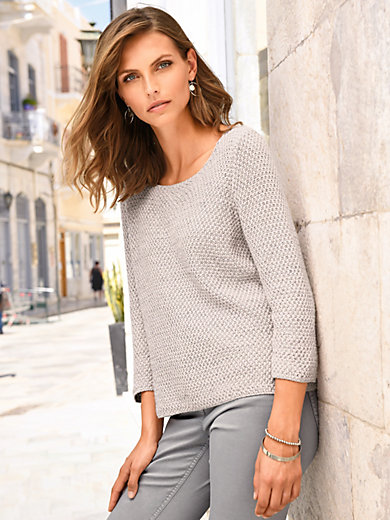 mayfair by Peter Hahn - Round neck jumper with 3/4-length sleeves
