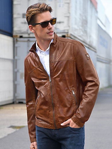 Milestone - Leather jacket with a raised collar