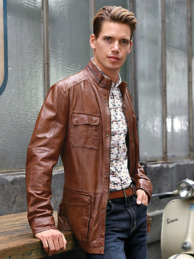 2a706453ec Leather jacket with a raised collar