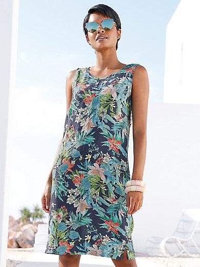 dc5a081467a4 Peter Hahn - Ärmlös klänning i 100% linne - marinblå/flerfärgad