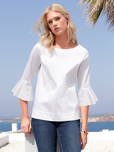Peter Hahn - Blouse with 3/4-length frilled sleeves