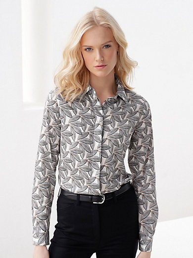 Peter Hahn - Blouse with printed leaf motifs