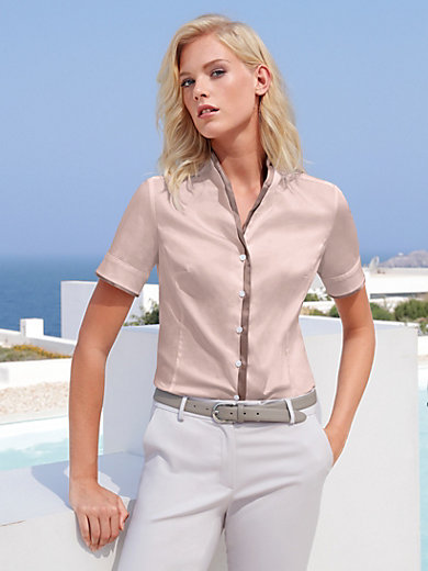 Peter Hahn - Blouse with short sleeves and mandarin collar