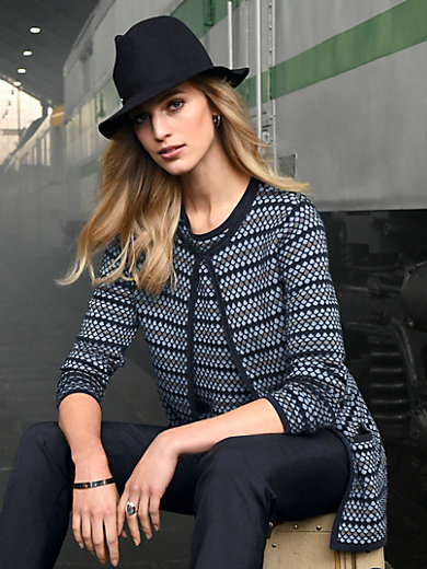 Peter Hahn - Cardigan with knitted honeycomb pattern