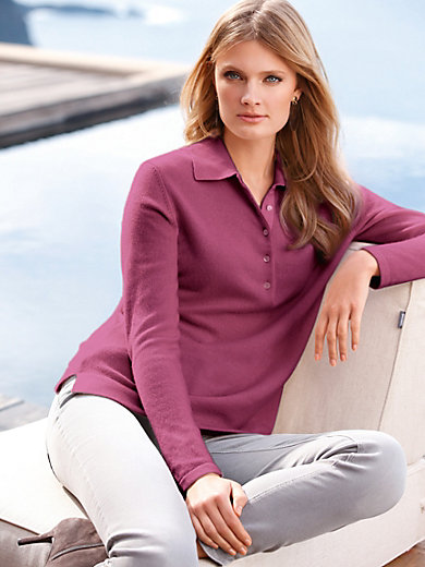 Peter Hahn Cashmere - Polo collar jumper in 100% cashmere