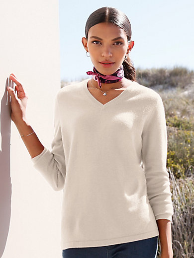 Peter Hahn Cashmere - V neck jumper in Pure cashmere in premium quality
