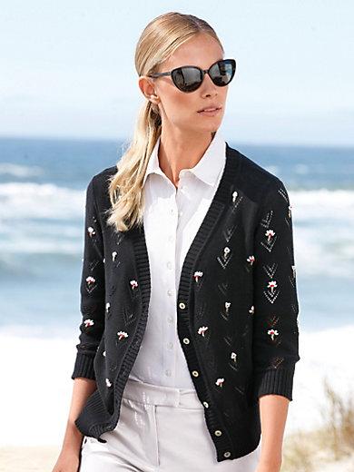 Peter Hahn - La veste en pur coton, manches 3/4, fleurs brodées