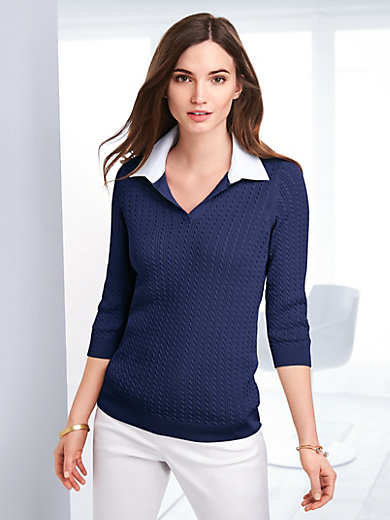 Peter Hahn - Polo jumper with 3/4-length sleeves