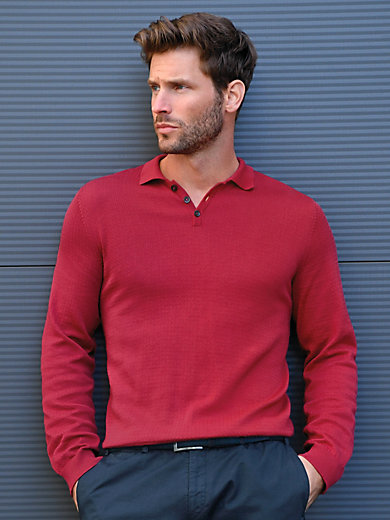 Peter Hahn - Polo neck pullover in 100% Pima cotton