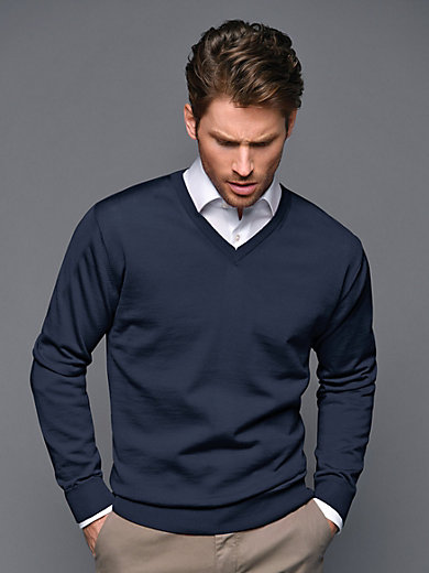 Peter Hahn - V-neck jumper in 100% new milled wool