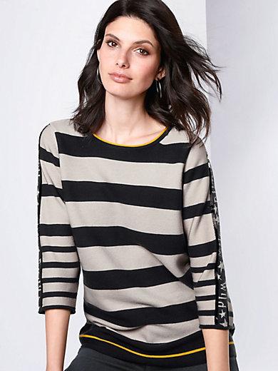 Rabe - Rundhals-Pullover mit Rollkante am 3/4-Arm