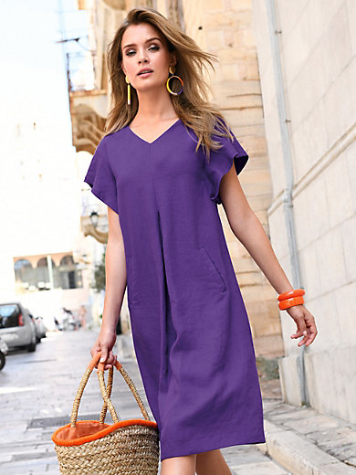 Riani - Dress with sewn-on cap sleeves in 100% linen