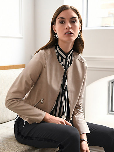 Riani - Leather jacket with a round neckline