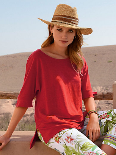 Riani - round neck top with short sleeves in 100% linen