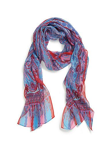 Roeckl - L écharpe 100% soie - bleu ciel rouge 1fe1477d97d