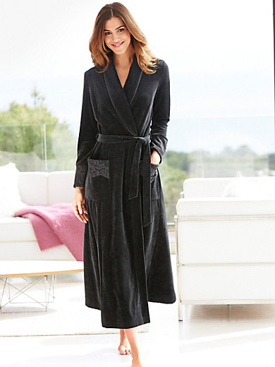Rösch-Velour dressing gown-black