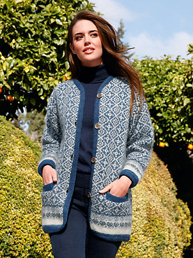 SAGA - Jacquard jacket in 100% new milled wool