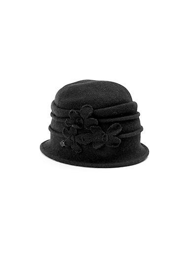 Seeberger - Le bonnet en pure laine vierge, fleurs fantaisie