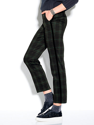 f4a0c106 Stehmann - Bukser med moderne ternet mønster - Grangrøn