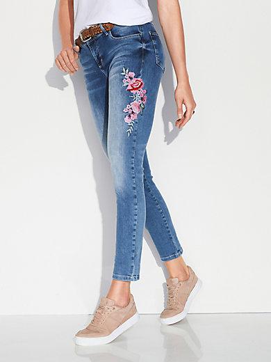 Stehmann - Knöchellange Jeans mit Blüten-Stickerei